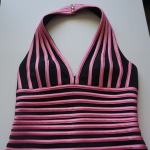 Cache Tops - Cache Pink Black Halter Top Size 6